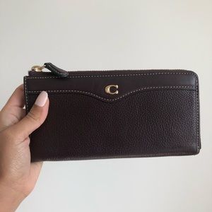 Coach Brown Leather Oxblood Accordion Zip Wallet